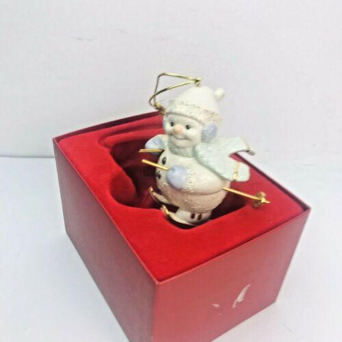 """Lenox Snowman On Skis 4"""" Porcelain Christmas Ornament ( Retired )"""