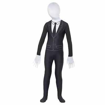 Supernatural Boy Black and White Slender Man Scary Kids Body Suit Mask Costume
