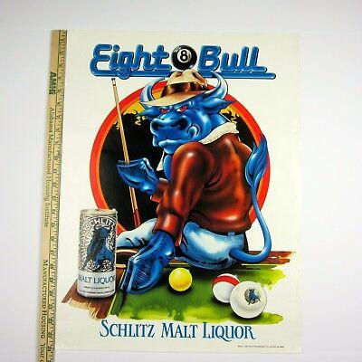 Schlitz EIGHT BULL Original 1984 Poster 18x24 Stroh Brewery Detroit #89732