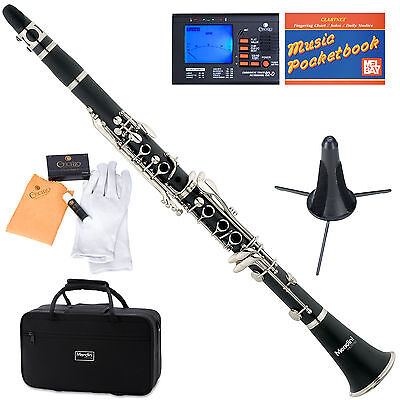 Mendini Bb Clarinet Black Ebonite Body +Tuner+Care Kit+Stand+11 Reeds+Case~MCT-E