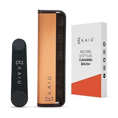KAIU Vinyl Record & Stylus Cleaning Brush Combo 2-in-1 Anti Static Carbon Fiber