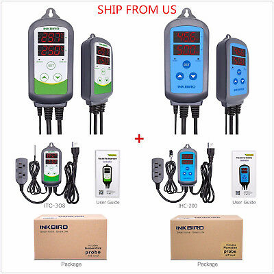 Us Plug 110v Digital Temperature Controller Humidity Control Itc-308 Ihc-200