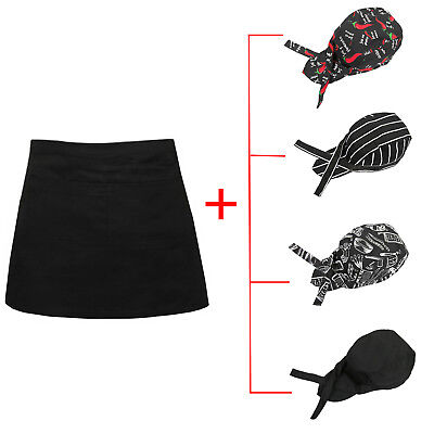 Short Waist Pocket Apronchef Hats For Bar Cafe Pub Waiter Waitress Cook Barista