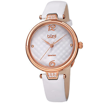 Women's Burgi BUR222WT Diamond White Quilted Dial Patent Leather Strap Watch