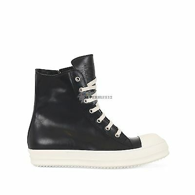 RICK OWENS LEATHER HIGH TOP SNEAKERS HORSE LEATHER FREE SHIPPING