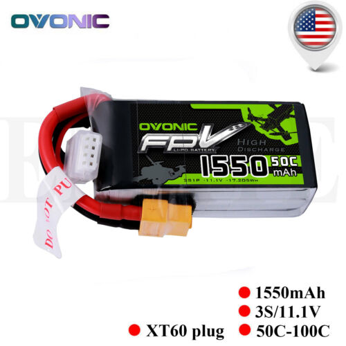 Ovonic 1550mAh 11.1V 50C 3S Lipo Battery XT60 Plug For FPV D