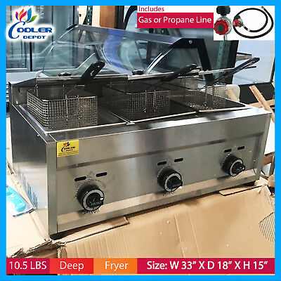 Deep Fryer Propane 3 Burner Commercial Countertop Fry Food Cooker Cooler Depot