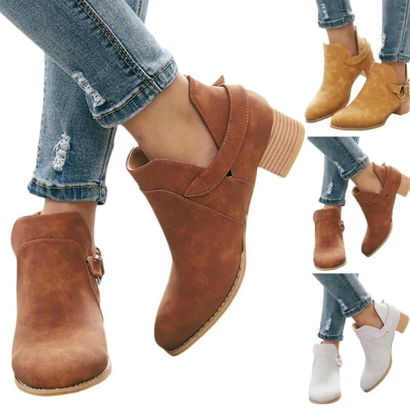 Damen Stiefeletten Stiefel Ankle Boots Blockabsatz Schnalle Kurzschaft Schuhe