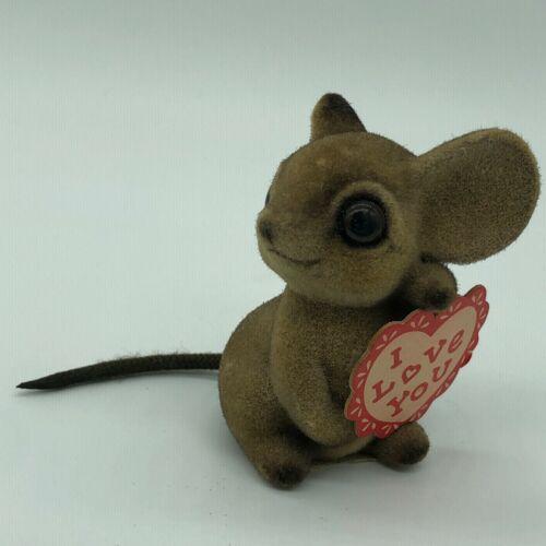Vintage Josef Originals Valentine Mouse Flocked Figurine I Love You