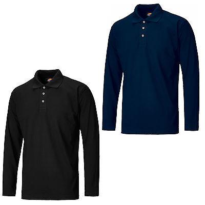 Dickies Long Sleeve Polo Shirt SH21100 Mens Durable 3 Button Work T-Shirt Dickies Long Sleeve Polo Shirt