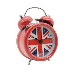 3 inch Metal Double Bell Desk Table Loud Alarm Clock Nightlight UK British Flag