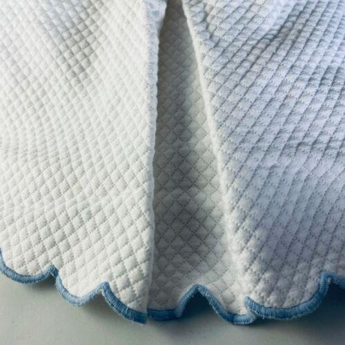 Pottery Barn Kids White Matelasse Crib Dust Ruffle Skirt Blue Scalloped Edge