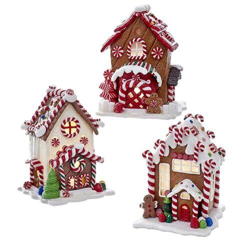 Kurt Adler Candy Cane LED Light Up Lighted Gingerbread House Christmas Decor