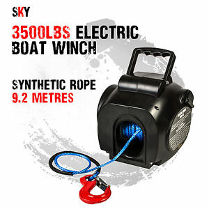 I-MAX 12V 3500LBS Portable Electric Synthetic Boat Winch Trailer ATV 4WD 4x4