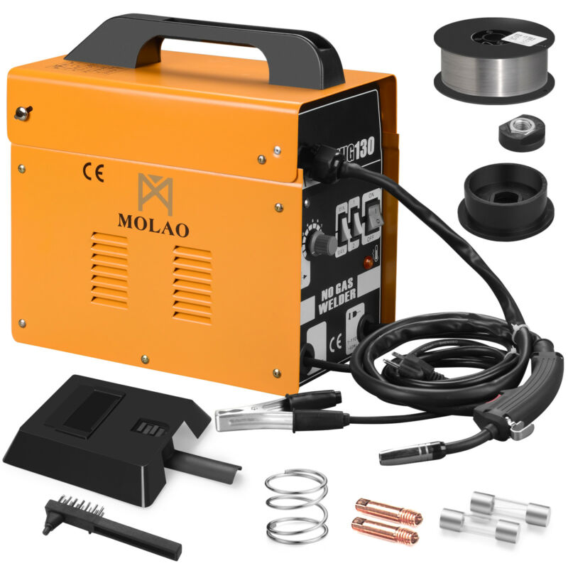 130 MIG Welder Flux Core WIre Automatic Feed Welding Machine Free Mask Orange