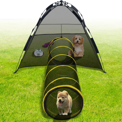 Cat Play House Outdoor Kitty Compound Tube Enclosure Yard Pen Cage Fun Tent