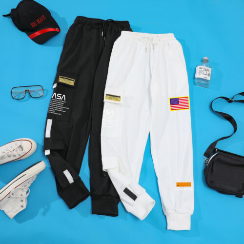 Men Casual Nasa Embroidery Joggers Cargo Pants Sweatpants Sport Urban Trousers