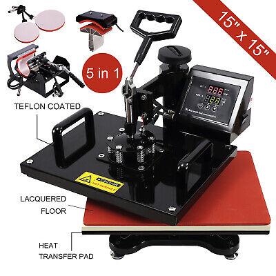 5in1 15x15 Heat Press Machine Transfer Sublimation Cap T-shirt Hat Printing