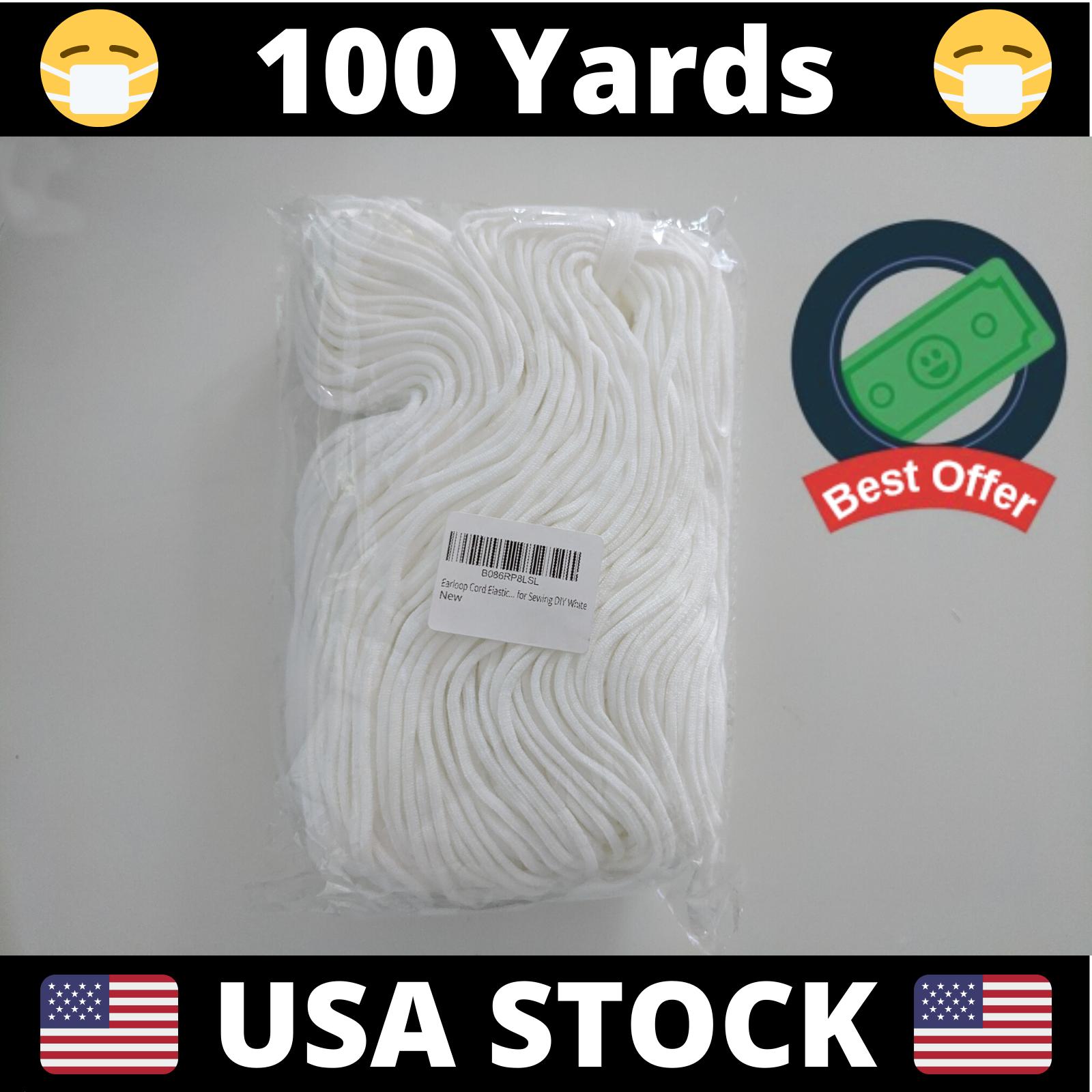 "100 Yards Round Elastic Cord Band 3mm (1/8"") | DIY Face Masks | USA Stock"