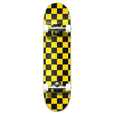 Cal 7 Checker Yellow Complete Popsicle Skateboard,8 Inch, Gifts for Skateboarder