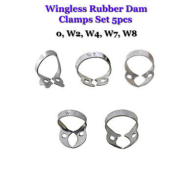 Rubber Dam Clamps Dental Restorative Wingless Set Of 5 Endodontics Tissue Tools