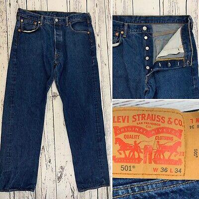 Levis 501 Mens Jeans Straight Leg Button Fly Dark Wash Denim Cotton Size 36X34
