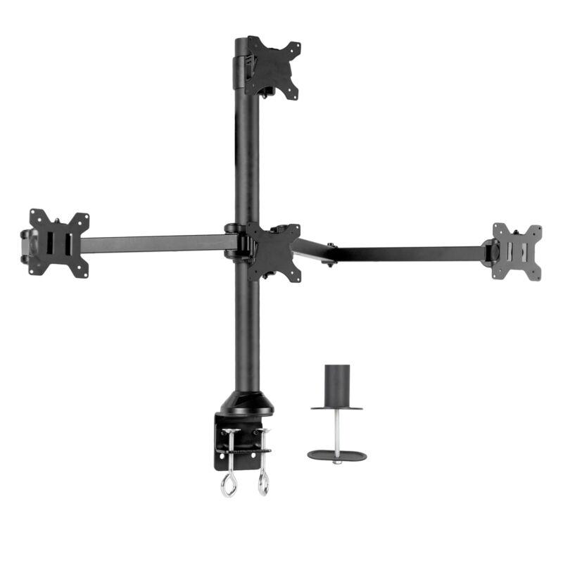 "VIVO Steel Quad Monitor Desk Mount Adjustable 3 + 1 Stand | 4 Screens up to 32"""