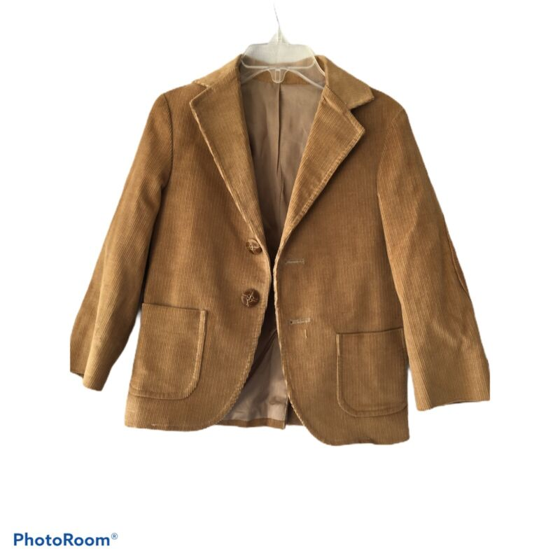 Vtg Tom Sawyer Sz 4 Corduroy Western Blazer Elbow Leather Patch Tan Jacket