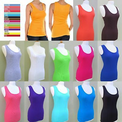 Women's Solid Stretchy Cotton Ribbed Tank Top Black White Grey Red Blue TT200 (Solid Ribbed Tank)