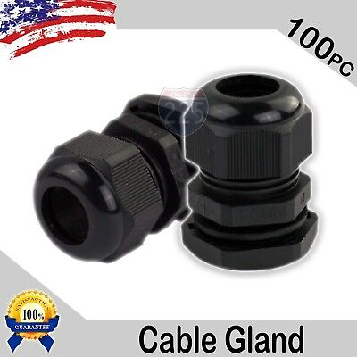 100 Pcs PG16 Black Nylon Waterproof Cable Gland 10-14mm Dia w/ Lock-Nut & Gasket