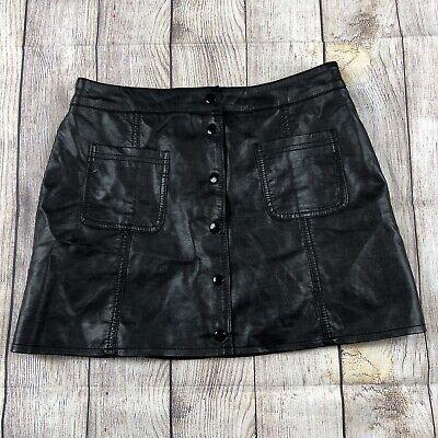 Women's H&M Black Faux Leather Front Snap Button A-Line Mini Skirt Size 12