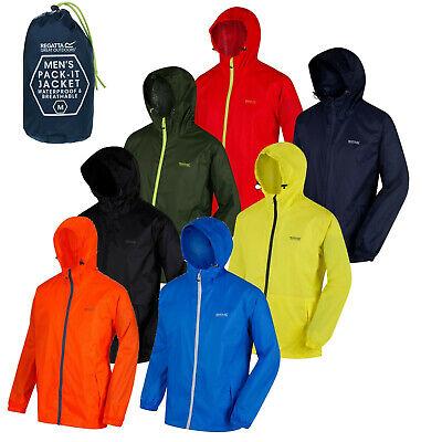 Regatta Mens Pack It Rain Jacket Waterproof Hooded Packable Foldable In Bag