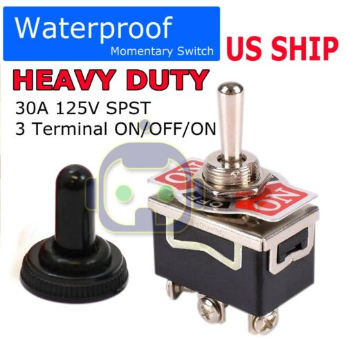 Toggle SWITCH ON/OFF/ON Heavy Duty 20A 125V SPDT 3 Terminal Car Waterproof BOOT