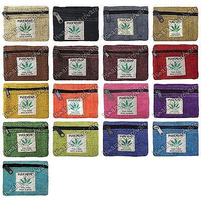 100% Hemp Pouch small Bag Case Zipper Rasta Coin Purse Marijuana Leaf Ganja Tote