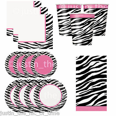 ZEBRA PASSION PARTY Animal Print Girls Birthday Party Tableware Plates Napkins (Animal Print Tableware)