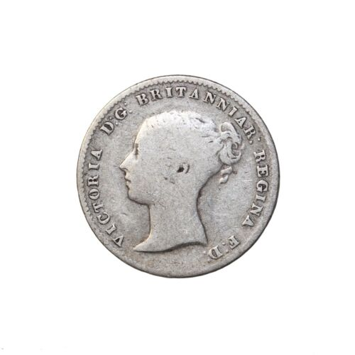 Great Britain 1861 Queen Victoria Silver Threepence Coin KM#730 3 Pence