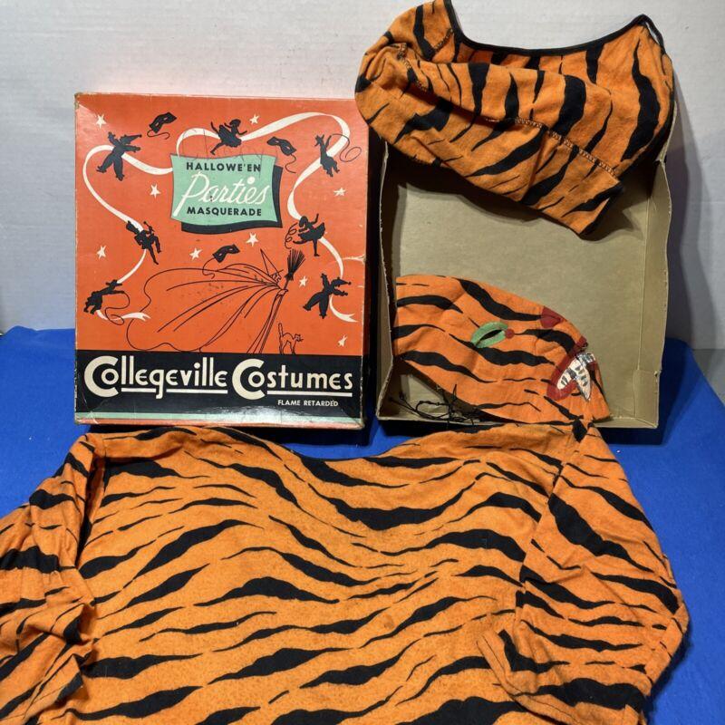 Vintage Halloween Collegeville Costume 2100 Child Tiger Small 4-6 W/ Box