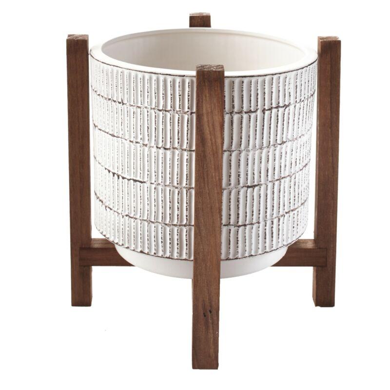 Ceramic Planter on Wood Stand - Indoor/Outdoor Decorative Pot