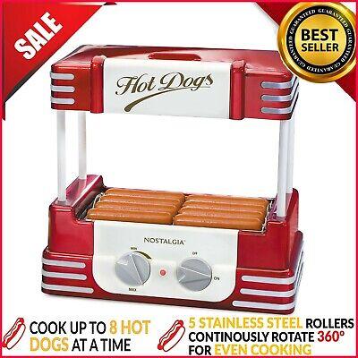 Hot Dog Roller Bun Warmer Machine Nostalgia Adjustable Heat Cooker Grill Retro