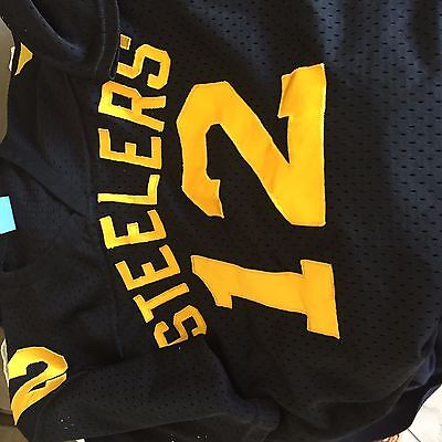 Terry Bradshaw #12  over the hill Wilson sewn nfl football jersey adult Large
