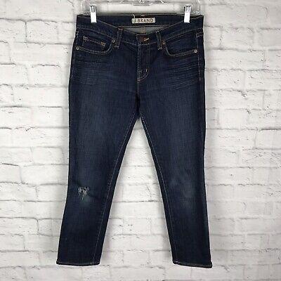 J Brand Womens Blue Denim Dark Wash Size 27 Zipper Fly 5 Pocket Capri Jeans
