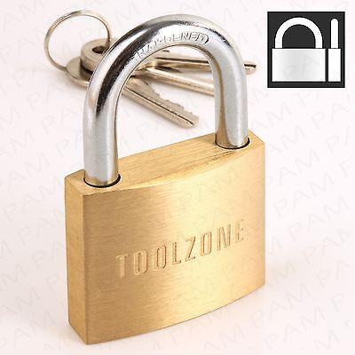 50mm Brass Padlock HARDENED STEEL SHACKLE 3 Security Keys Garage/Gate/Shed Lock