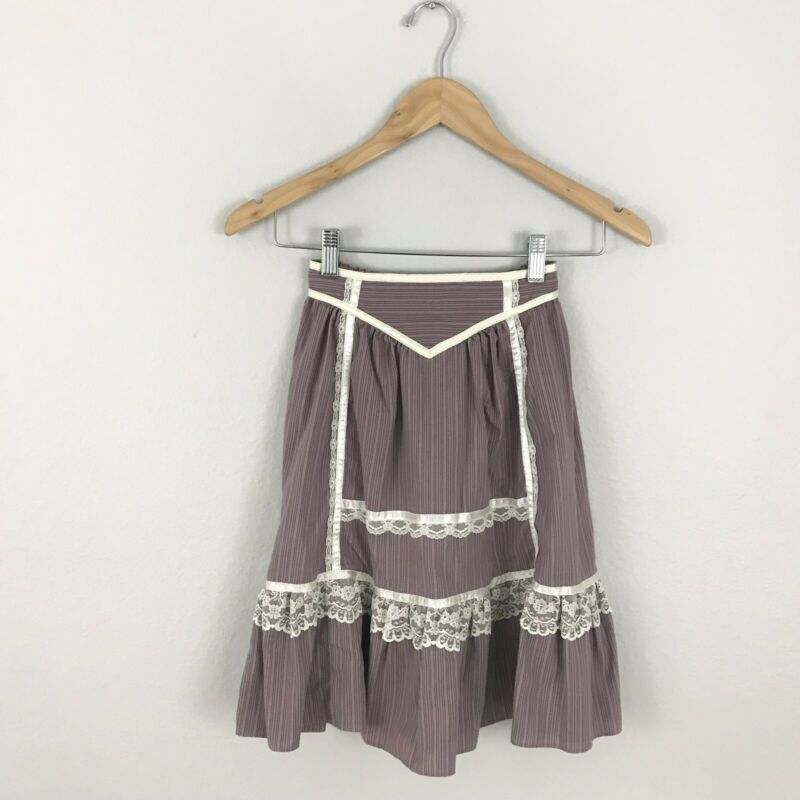 Gunne Sax Jeunes Filles Vintage Girls size 6 Skirt Floral Lace Ruffle Prairie