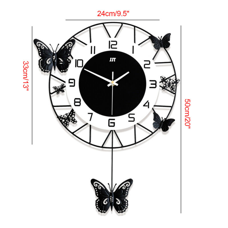 Wall-mounted 20inch Modern Butterfly Quartz Clock Minimalist Nordic Clock