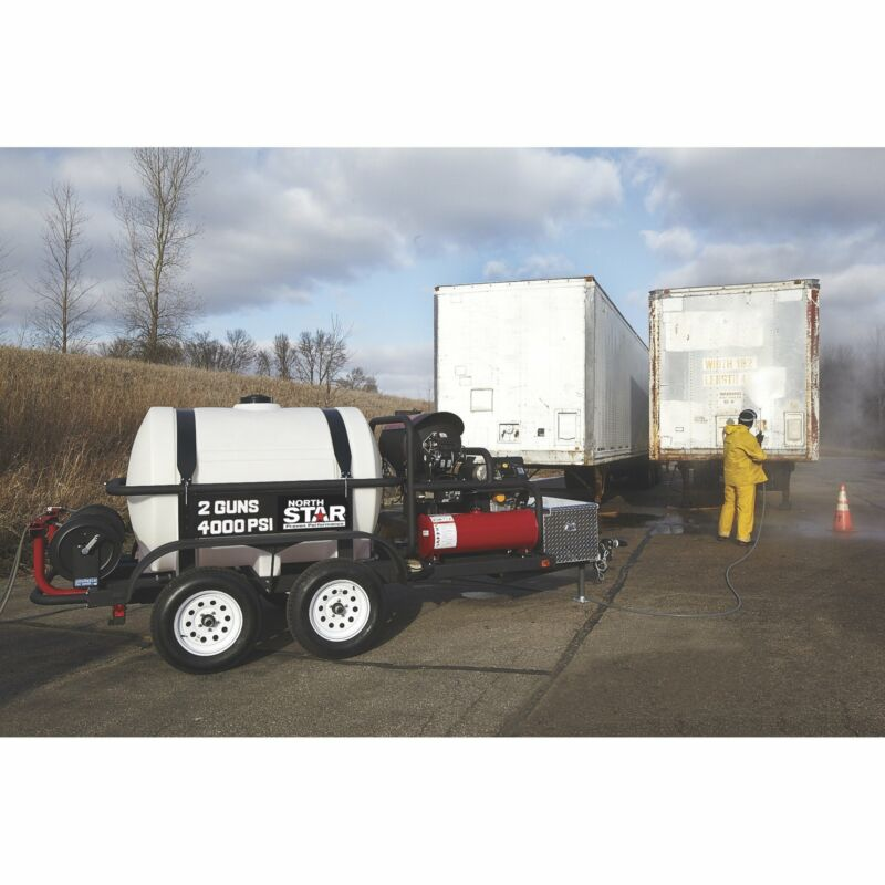 NorthStar Hot Water Pressure Washer Trailer w/2 Wands - 4,000 PSI, 7.0 GPM