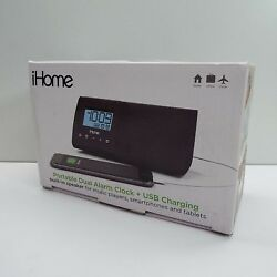 IHOME IHM46BXC PORTABLE USB CHARGING DUAL ALARM CLOCK (T32)