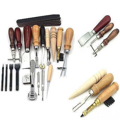 18Tlg. Leder Werkzeug Stitching Craft Hand Sewing Stitching Groover Kit Sets