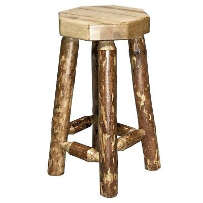 Rustic Log Bar Stools No Back 24 In Lodge Cabin Style Barstools Amish Made