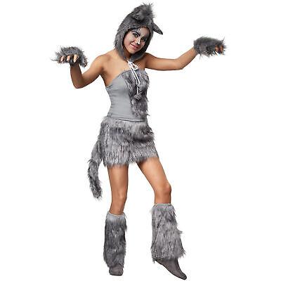 Womens Costume Hot Wolf Lady Short Dress Light Grey Faux Fur Carnival Halloween (Wolf Lady Kostüm)