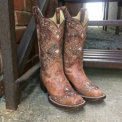CORRAL WOMEN'S ROSE BROWN GLITTER SQUARE TOE COWGIRL BOOTS A3120  - -